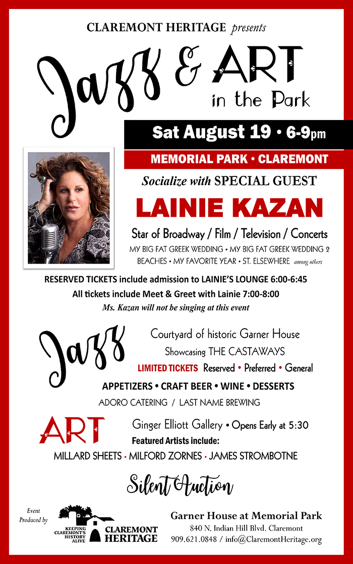 JAZZ & ART in the Park - Evening of Saturday August 19, 2017