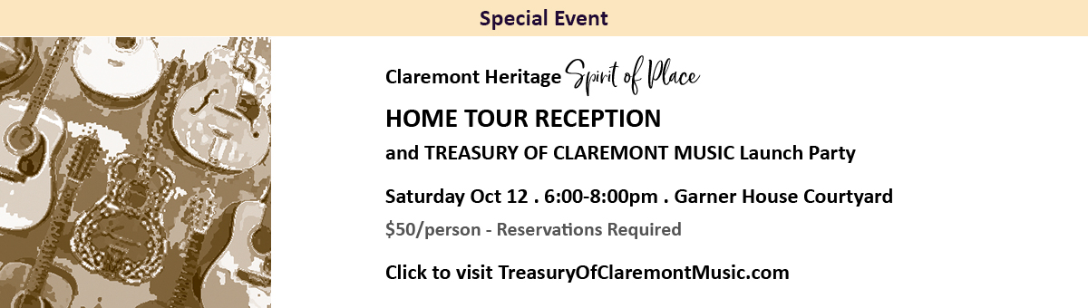 Home Tour Reception and Treasury of Claremont Music Launch Party